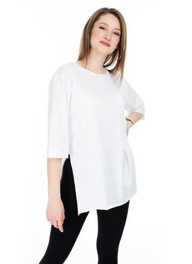Lela Lela Oversize Bisiklet Yaka Kadın T Shirt 5411073 Beyaz